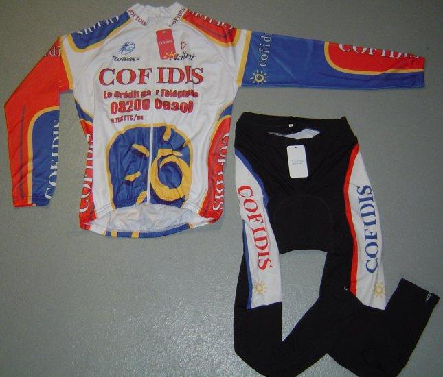 COFIDIS LONG SLEEVE CYCLING JERSEY & TIGHTS KIT SZ XL