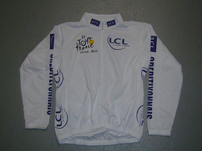 TOUR DE FRANCE WHITE CYCLING BIKE JERSEY SZ XL