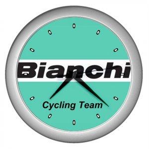 BIANCHI PRO CYCLING TEAM SILVER WALL CLOCK NEW (FREE SHIPPING!!)