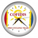 COFIDIS PRO CYCLING TEAM SILVER WALL CLOCK NEW (FREE SHIPPING!!)