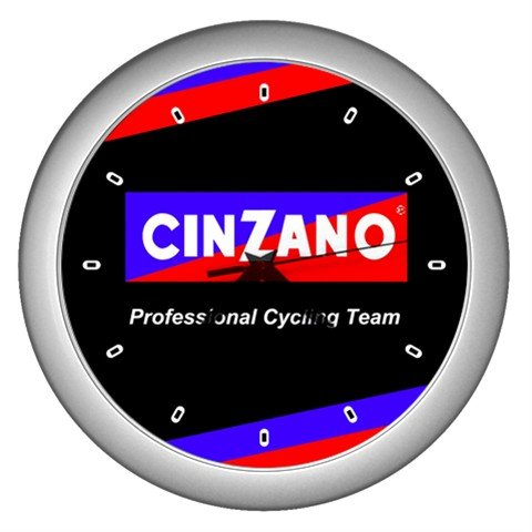 CINZANO PROFESSIONAL CYCLING TEAM SILVER WALL CLOCK NEW (FREE SHIPPING!!)
