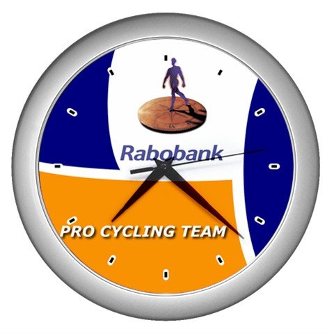 RABOBANK PRO CYCLING TEAM SILVER WALL CLOCK NEW (FREE SHIPPING!!)