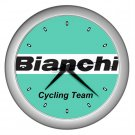 BIANCHI PRO CYCLING TEAM SILVER WALL CLOCK NEW (FREE SHIPPING!!)