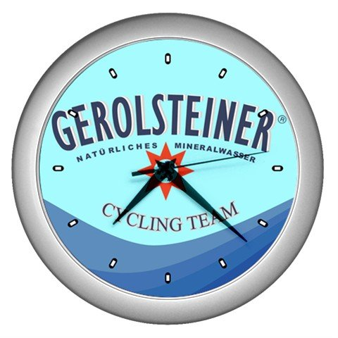 GEROLSTEINER PRO CYCLING TEAM SILVER WALL CLOCK NEW (FREE SHIPPING!!)