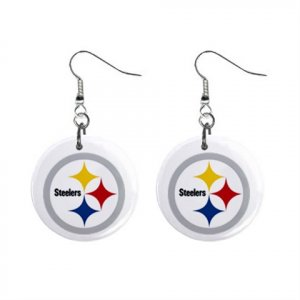 PITTSBURGH STEELERS NFL BUTTON EARRINGS (WORLDWIDE FREE SHIPPING!!)