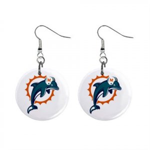 MIAMI DOLPHINS NFL BUTTON EARRINGS (WORLDWIDE FREE SHIPPING!!)