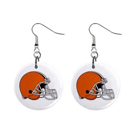 CLEVELAND BROWNS NFL BUTTON EARRINGS (WORLDWIDE FREE SHIPPING!!)