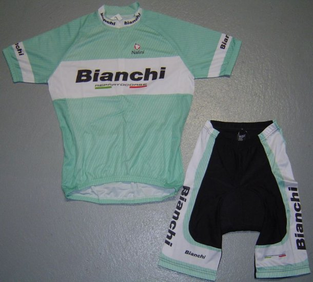 BIANCHI TEAM CYCLING CYCLE BIKE JERSEY AND SHORTS SZ L