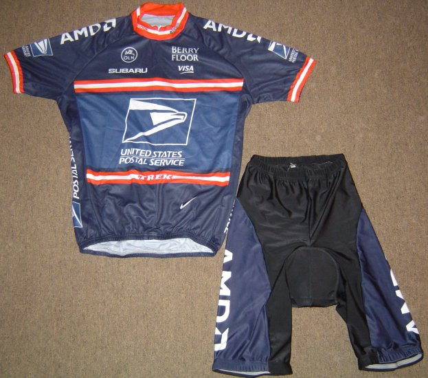 US POSTAL SERVICE USPS CYCLING CYCLE BIKE JERSEY AND SHORTS SZ L