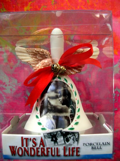 SOLD! It's A Wonderful Life ENESCO  PORCELAIN BELL Mary & George Bailey with ANGEL WINGS NEW!