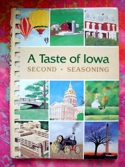 SOLD! TASTE OF IOWA IA SECOND SEASONING COOKBOOK 1983