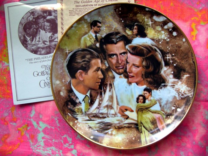 SOLD! GOLDEN AGE OF CINEMA Collector's Plate--The Philadelphia Story Jimmie Stewart Cary Grant