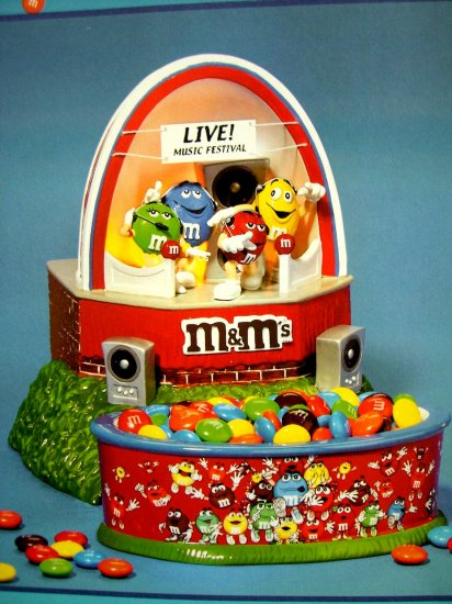 SOLD! Dept 56 M&M's Party ROCK & ROLL MUSIC FESTIVAL STAGE & CANDY DISH NEW IN BOX