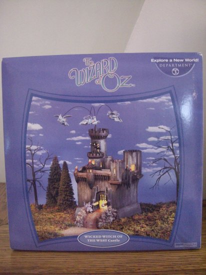 SOLD!  LOT 3 DEPT 56 WIZARD OF OZ WITCH'S CASTLE & LION KING OF THE FOREST & WITCH SCARECROW NEW