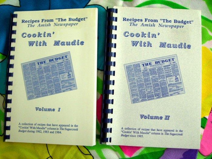 Rare Lot Cookin' With Maudie Vol 1 & Vol AMISH & MENNNONITE OHIO (OH) Newspaper Recipes Cookbook