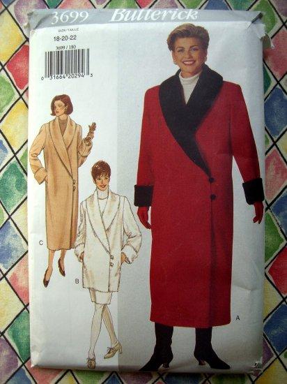 SOLD!  Butterick Pattern # 3699 UNCUT Misses COAT & Skirt Size 18 20 22