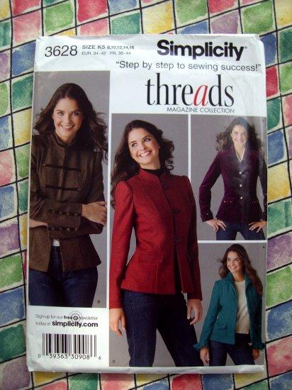 Simplicity Pattern # 3628 UNCUT Misses Jacket Size 8 10 12 14 16 Threads Magazine