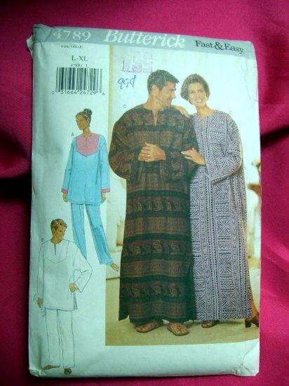 Sold! Butterick Pattern # 4789 UNCUT Caftan Tunic & Pants Unisex Size LARGE XL