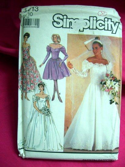 Simplicity Pattern # 8413 Size 10---UNCUT Wedding Gown Bridesmaids Evening READ Measurements