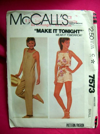McCall's Pattern # 7573 1981 UNCUT Woman's Jumpsuit Size Small