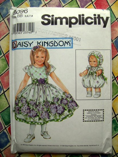 Simplicity Pattern # 9096 UNCUT Daisy Kingdom Dress for Girl & 183� Doll  Size 5 6 7 8