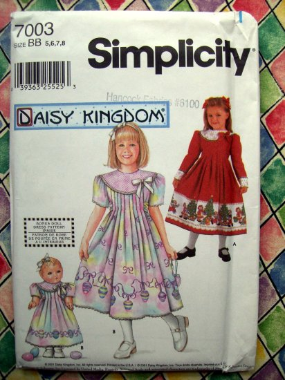 SOLD! Simplicity Pattern # 7003 UNCUT Daisy Kingdom Dress for Girl & 18� Doll  Size 5 6 7 8