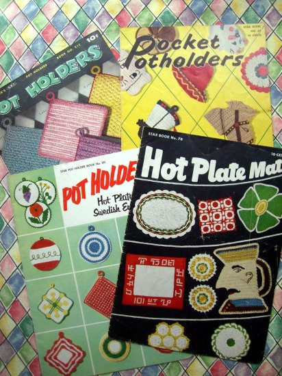 Lot Vintage PotHolder Pot Holder Patterns Instruction Booklets