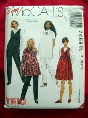 McCalls Easy Pattern #7459 UNCUT Maternity Dress Pants Jumper Top Size 12 14 16