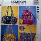 McCalls Pattern # 4118 UNCUT Fashion Accessories Handbag