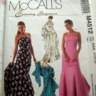 McCall's Pattern # M 4512 UNCUT Misses Formal Evening Dress / Prom Gown Strapless  Size 4 6 8 10