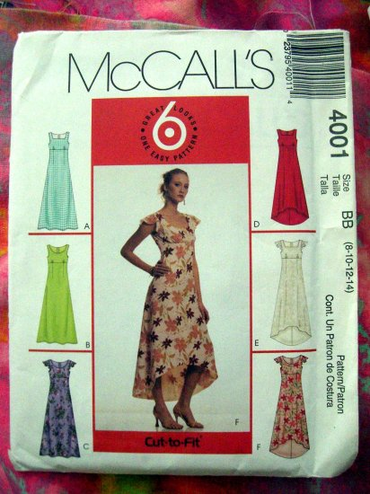 SOLD! McCall's Sewing Pattern # 4001 UNCUT Misses Dress 6 Looks Size 8 10 12 14 Summer Empire Style