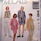 McCalls Pattern #8163 UNCUT Misses Shirt Jacket Vest Pants Shorts Skirt Size 12 14 16