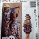 McCall's Pattern # 5894 UNCUT Girl's Jumpsuit Size 10 12 14