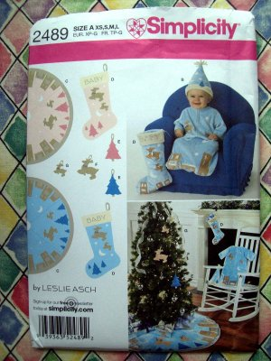 Simplicity Pattern # 2489 UNCUT Baby Bunting Hat & Tree Skirt & Stocking