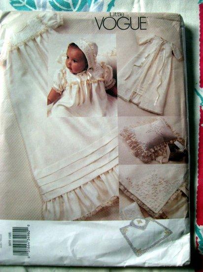 SOLD! VOGUE Pattern # 2675 UNCUT Baby/Infant Christening Gown/Dress Coat Bonnet. Pillow Sham