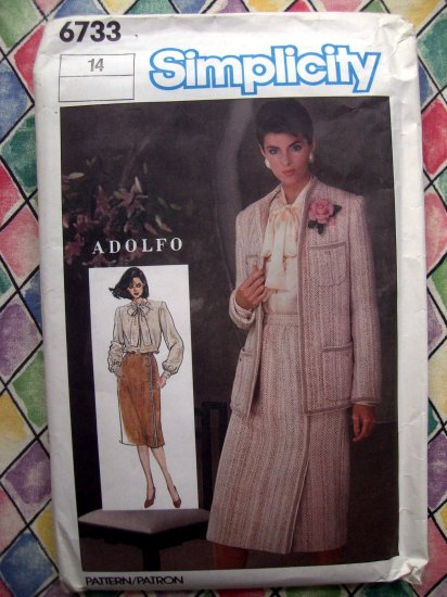 Simplicity Pattern # 6733 UNCUT Adolfo Misses Skirt Blouse Lined Jacket Size 14