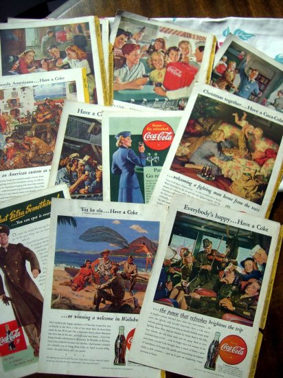 Rare Lot Coca Cola Ads 1940's WWII Military Navy Army