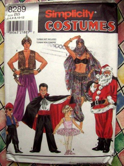SOLD! Simplicity Kids Costume Pattern #8289 UNCUT Size 2 4 6 8 10 12 Genie Santa