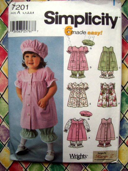 SOLD! Simplicity Pattern #7201 UNCUT Toddler Dress Hat Panties Sizes  1/2 1 2 3 4