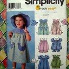 Simplicity Pattern #7189 UNCUT Toddler Dress Top Hat Panties Sizes  1/2 1 2 3 4