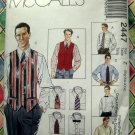 McCalls Pattern # 2447 UNCUT Men's Shirt Lined Vest Tie Size XL XXL XXXL