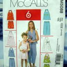McCalls Pattern # 5088 UNCUT Girls Dress Top Shorts Capri Pants Size 3 4 5 6