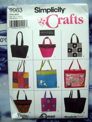 Simplicity Pattern # 9963 UNCUT Craft 9 Styles Tote Bags
