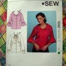 KWIK SEW Pattern # 3582 UNCUT Misses Blouse Size XS S M L XL