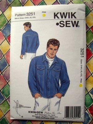 Sold Kwik Sew Pattern 3251 Uncut Mens Denim Jean Jacket Size