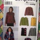 Simplicity Pattern # 5907 UNCUT Misses 6 Jacket or Vest Designs  Misses Size XS Small Medium