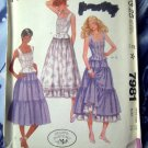 McCalls Pattern # 7981 UNCUT Misses Top Tiered Skirt Size 12