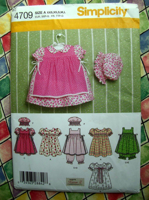 Simplicity Pattern # 4709 UNCUT Infant Toddler Girls Dress Size XXS XS Small Medium Large