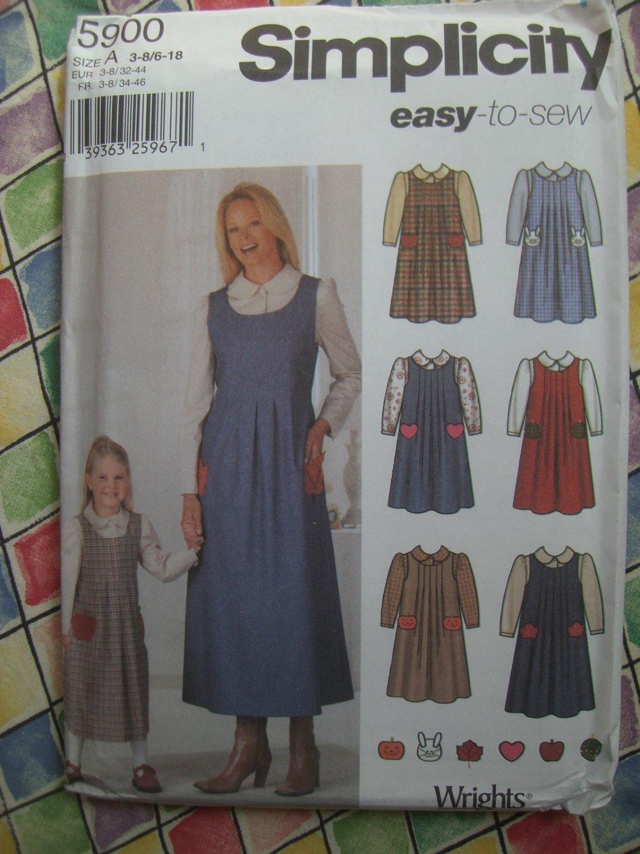SOLD! Simplicity Pattern # 5900 UNCUT Misses Girls Blouse Jumper Dress Size 6 8 10 12 14 16 18