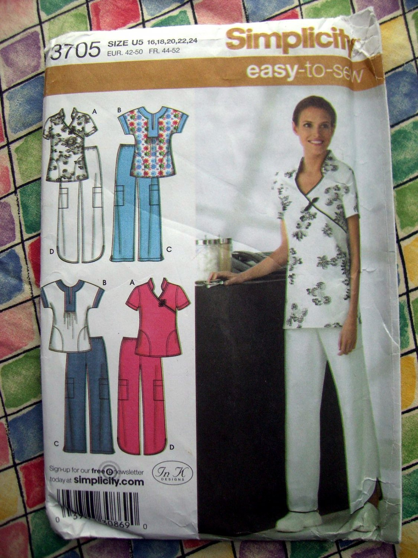 SOLD! Simplicity Pattern # 3705 UNCUT Misses Scrubs Top Pants Size 16 18 20 22 24